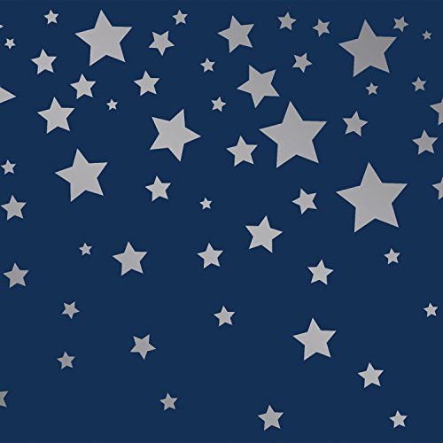 Tempaper Kids Navy and Silver Falling Stars | Designer Removable Peel and Stick Borders and Stripes - Little Star Wall Border