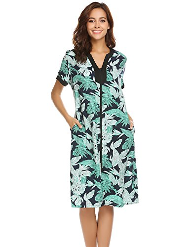 Ekouaer Sleepshirt Women's Zipper V-Neck Floral Loungewear Dress Pat4 XXXL