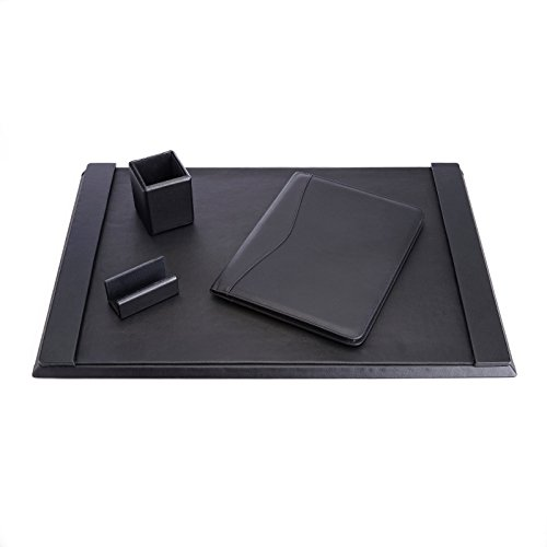 ROYCE Luxury Genuine Leather Desk Set: Pen Cup Organizer, Writing Padholder, Blotter and Business Card Holder lined with Genuine Suede - Black by Royce Leather