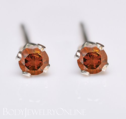 Genuine ORANGE DIAMOND Earring Studs 2mm 0.08tcw Post 14k Solid Gold (Yellow, Rose or White), Platinum, Silver Lobe Cartilage Helix Tragus by Body Jewelry Online
