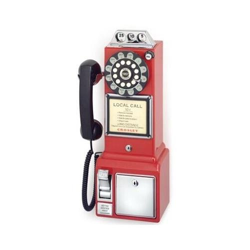 Telephone Phone Crosley - Crosley 1950 Retro Classic Pay Phone Telephone- Red