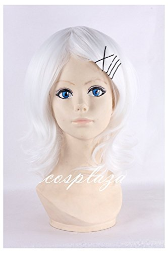 COSPLAZA White Hair Wavy Girls Short Anime Cosplay Wigs Suzuya Role Play Halloween Party Wig -