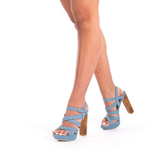 SnobUK - Zapatos con tacón mujer azul claro