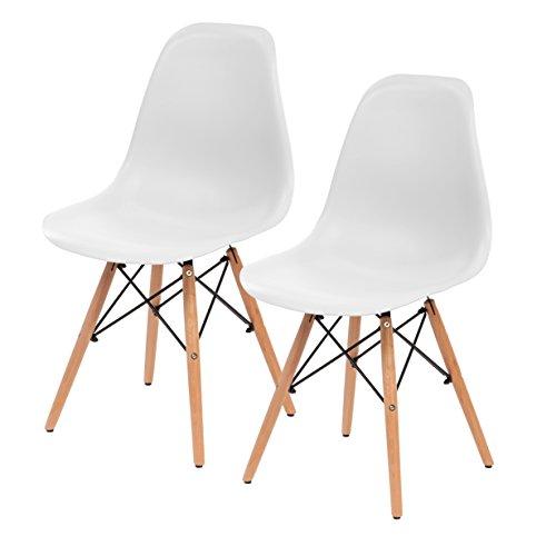 IRIS Mid-Century Modern Shell Chair with Wood Eiffel Legs, 2 Pack, Cotton White