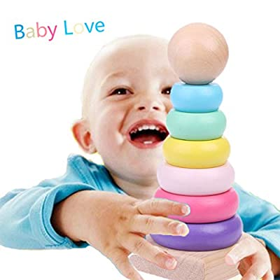 yuanhaourty Stacker Warm Color Rainbow Stacking Ring Tower Stapelring Blocks Wood Toddler Baby Toys: Toys & Games