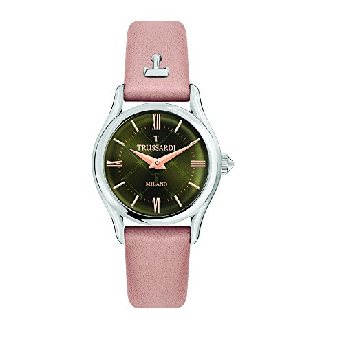 TRUSSARDI Women's T-Light Stainless Steel Analog-Quartz Leather Strap, Pink, 16 Casual Watch (Model: R2451127504) ()