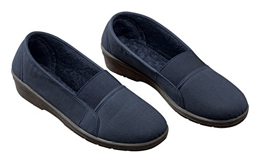 Confort Fit Élastique Slip On Navy Bleu