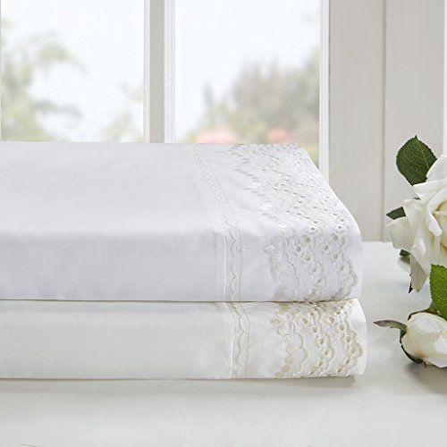 Madison Park Scalloped White Natural Sheet Set, Cottage/Country Bed Sheets Queen, Bed Sheets Set 6-Piece Include Flat Sheet, Fitted Sheet & 4 Pillowcases - Queen Eyelet