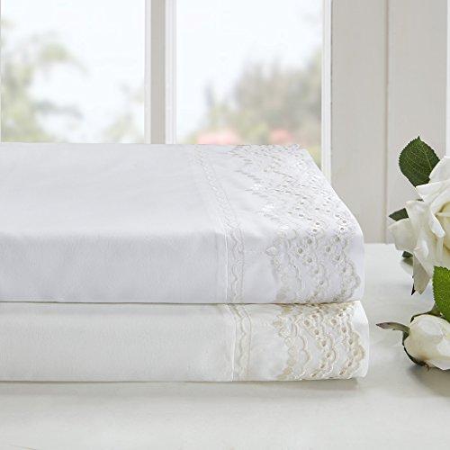 Ivory Lace Flat Sheet (Scalloped Eyelet Embroidered Sheet Set Ivory Full)