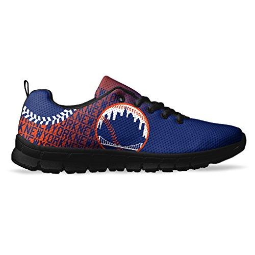 Men's New York Baseball Custom Fan Made Running/Athletic Sneakers Size 10 Black