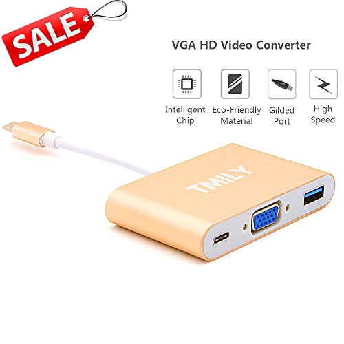 USB-C to VGA Adapter, Tmily 3 in 1 Type C VGA Multiport Adapter USB 3.0 Connector for Macbook, Lenovo Yoga 900, HP Spectre, Dell XPS, Chromebook and Other Laptop Devices ()