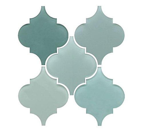 Arabesque Glass Mosaic Tile Sample Combo Pack - Blues and Greens