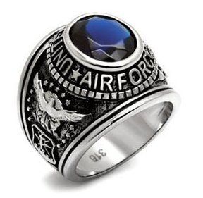 US Air Force Ring - (Stainless Steel w/ Blue Stone) USAF Military Rings Jewelry - Officers Military gear or U.S. AirForce Uniform Veteran Ring - Size: (12)