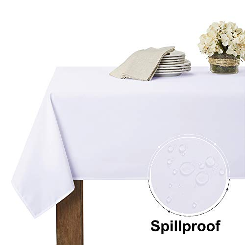 RYB HOME Spillproof Outdoor Table Cloth for Patio Garden Tabletop Decor, Use Table Cover for Restaurant/Banquet/Buffets/Cafe/Home Bar/Dinning, 60