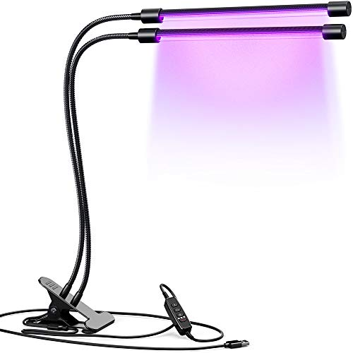 INFRAY Grow Light, Dual Head Plant Light with Timing Function, Full Spectrum led Grow Light Covers 400~840nm Similar with Sun-Lights, Adjustable Grow lamp for Indoor Plants and USB Adapter Included. by infray