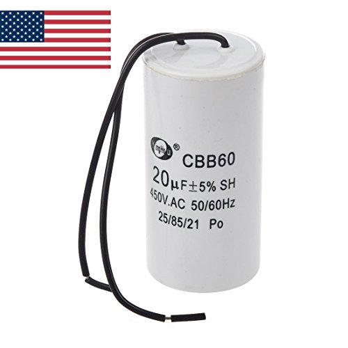 US CBB60 20uF Wire Lead Cylinder Motor Run SH Capacitor AC 450V