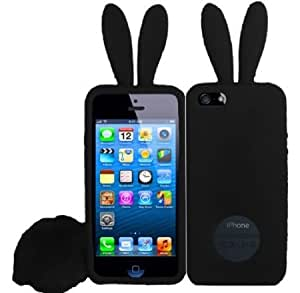 Cerhinu For Apple Iphone 5 5G 6th Gen Accessory Rabbit Silicone Jelly Skin Cover Case With Tail Black