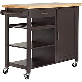 Homegear Utility Kitchen Storage Cart Island With Rubberwood Cutting Block  Brown