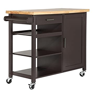 Amazon.com: Homegear Utility Kitchen Storage Cart Island with ...