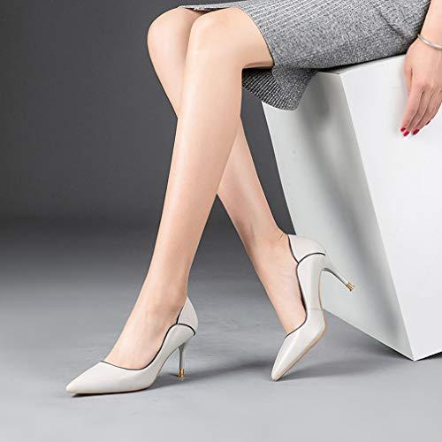 Dames Simples Chaussures Fin automne Mode Femmes Talons Printemps Pointu Peu Nouvelles B Hauts Gfphfm Profonde b 35 Talon 2019 Métal Nouveau Bouche 4SxAnU7dqw