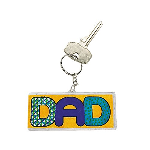 Fun Express - DIY Dad Keychain for Father's Day - Craft Kits - DYO - Paper - Misc DYO - Paper - Father's Day - 12 Pieces