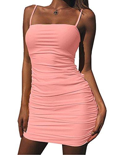 Pink Women's Balckless Sexy Kaximil Sleeveless Ruched Mini Club Strap Bodycon Dresses vdBcHHAq