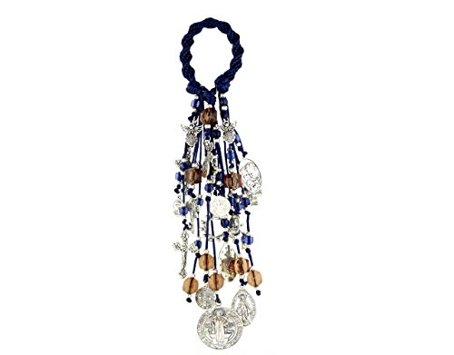 Home Door Blessings and Catholic Decor Gift with Saint Benedict Medal Virgin Mary Archangels Crucifix San Benito Proteccion Spirally Woven Design with 22 Charms./B100BLUE