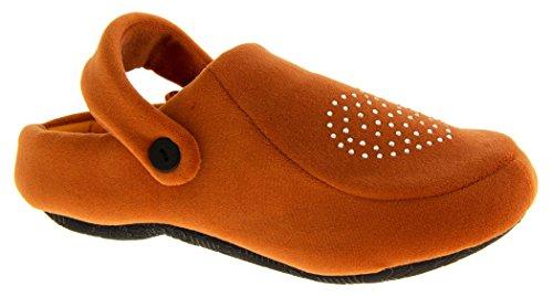 Defonseca Womens Sabotto Slingback Clog Mule Slippers Orange Diamante 50P4kZ