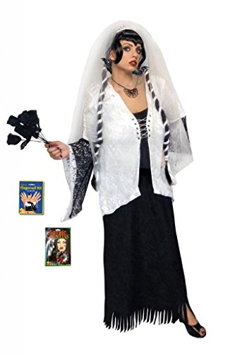 Sanctuarie Designs Womens /DELUXE-WITH GHOSTBRIDEWIG/Ghost Zombie Bride/ Dress Plus Size Supersize Halloween Costume/3xT/Black/]()