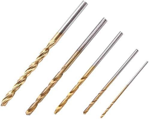 50Pcs Mini Twist Drill Bits High Speed Steel Hand Plating Titanium Straight