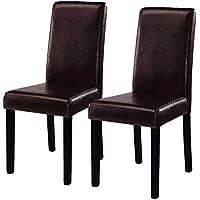 Costway Set of 2 Parson Chairs Elegant Design Leather...