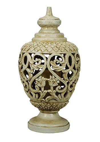 "All Line Lantern Flameless Candle Holder, Indoor/Outdoor Use, Cream, 16.75"" -  Hi-Line Gift Ltd., 78521-WT"