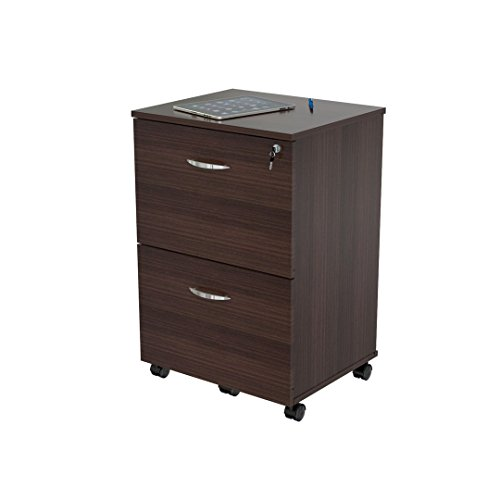 Inval America Uffici Commercial Collection 2-Drawer Mobile File Cabinet - Filing Cabinet Casters