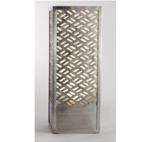 Tall Open Asian Lattice Silver Metal Table Lamp | Fretwork Column Rectangle Cube