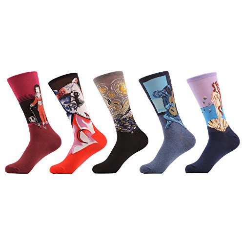 WeciBor Men's Funny Oil Painting Dress Trouser Combed Cotton Socks 5 Packs