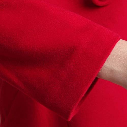 Anchos Irregular Gabardinas Chaqueta Botonadura Larga Invierno Parka Retro Capucha Doble Mujer Caliente Con Color Rot Manga Sólido qHwR77I