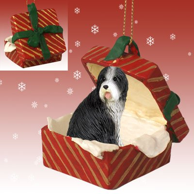 BEARDED-COLLIE-Dog-sits-in-a-RED-Gift-Box-Christmas-Ornament-New-RGBD95