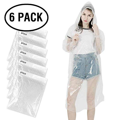 KKTICK Rain Poncho Disposable, Clear Adult Ponchos with Hood, 6 Pack Raincoat for Men Women, Emergency Waterproof for Theme Parks, Hiking, Camping, Sports Events and Rainy Outdoors