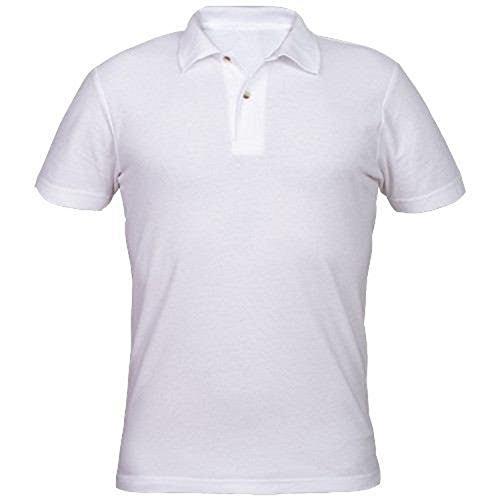 Vestibilità Corta Top Polo Basic Per Manica Ottima Qualità Bianca Cotone Negozio Uomo Ufficio Super Bar Lavoro Yaqww4Cgx