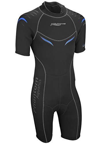 Phantom Aquatics Men's Marine Shorty Wetsuit, Black/Blue, - Mens Wetsuit