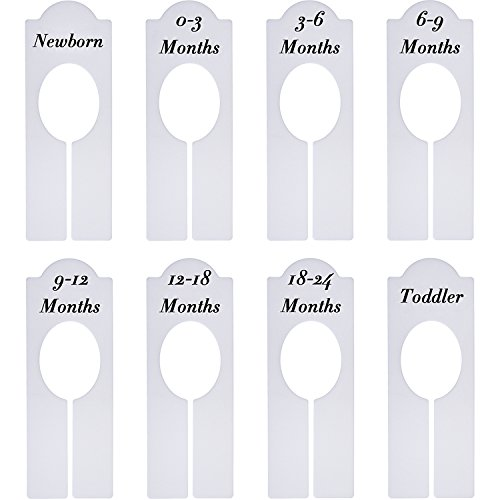 Willbond 8 Pieces Closet Dividers Baby Boy Girl Clothing Rack Size Dividers with Sizes Newborn to 18-24 Months from Willbond