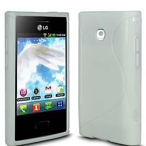(Blanco) LG Optimus L3 E400 la Línea protectora cubierta de la caja de gel Piel y Protector de pantalla LCD de Spyrox