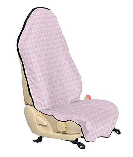 (Lunarable Checkered Car Seat Cover, Romantic Tartan Hearts Love Theme Pastel Girly Tones Princess Kids, Car Truck Seat Cover Protector Nonslip Backing Universal Fit, Baby Pink White)