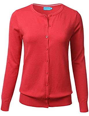 FLORIA Women Button Down Crew Neck Long Sleeve Soft Knit Cardigan Sweater (S-3X)