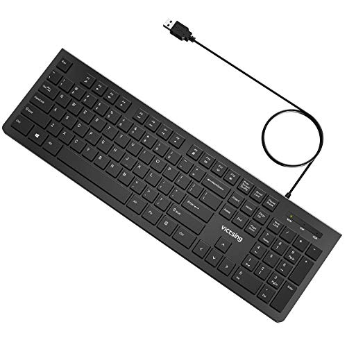 VicTsing Wired Keyboard Slim, Computer Keyboard USB Keyboard with Foldable Stand, Chiclet Keyboard for Windows 7/8/10/Vista, Mac/Laptop/Desktop-Black (Best Flat Keyboard Pc)