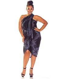 1 World Sarongs Womens PLUS Size Smoked FRINGELESS Swimsuit Cover-Up Sarong
