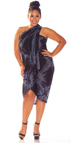 1 World Sarongs Womens PLUS Size Smoked FRINGELESS Sarong in Charcoal Gray