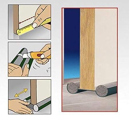 Burlete Puerta Espuma Bajopuerta 95 CM,Bajo Puerta de espuma,Doble rollo aislante (MARRON)