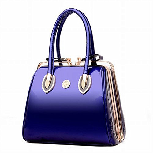 Sac YTTY Atmosphère en Boucle à Lumineux Paquet Clip Main Diamant Verni Sac Cuir Bouche Mode Sac Bleu à Main Petit 4Cx4fwq8r