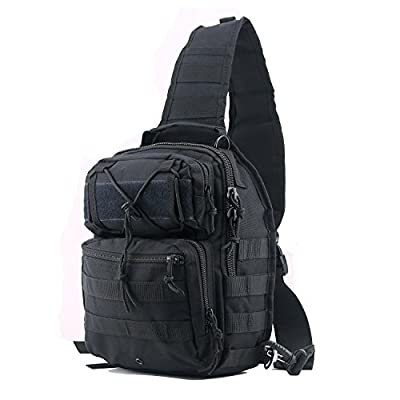 Tactical Sling Bag Pack Black Military Rover Shoulder Sling Backpack Small EDC Molle Assault Waterproof Chest Crossbody Bag